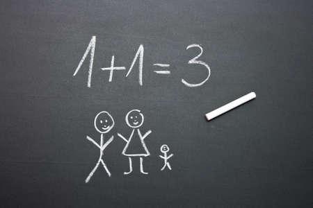 Family planning on a blackboard