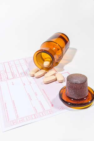 Medicine bottle with tablets