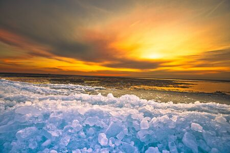 drifting ice: Sunset above drifting ice