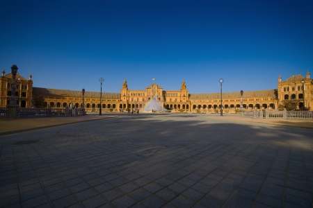 The Plaza de España is a Square  located in the Parque de María Luisa in Seville, Spain  Built in 1928 for the Ibero-American Exposition of 1929  It is a landmark example of the Renaissance Revival style in Spanish architecture  The Plaza de España, de