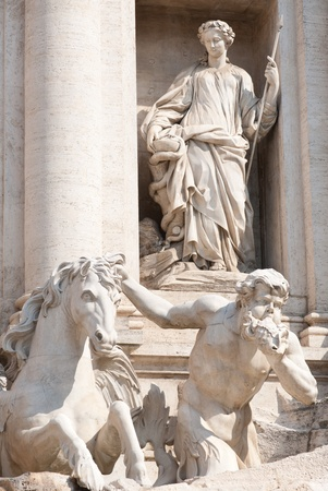 rev: The Trevi Fountain or Fontana di Trevi is the largest and most famous fountain in Rome. Stock Photo