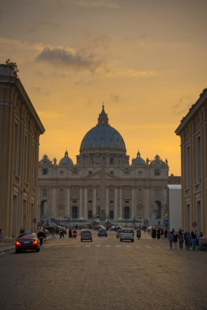 historic place: Saint Peter Basilica in Vatican at evening.
