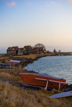 ice dam: Sunrise @ the island of Marken. This is a Island in the IJsselmeer in Holland.