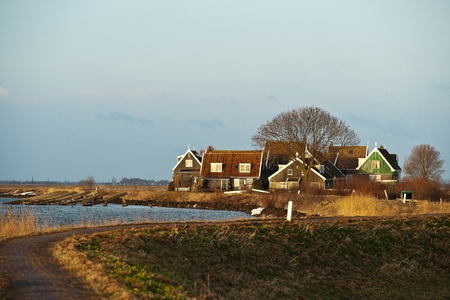 Fishermen's cottages along the Dutch dike at Marken Stock Photo - 16276922