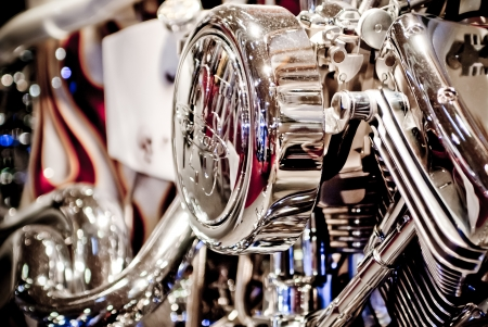 chrome cylinder: Motorcycle in showroom