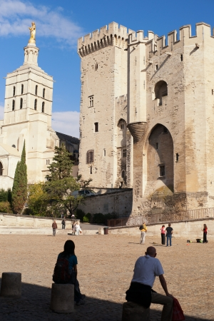 Palace of the popes in Avignon city, France