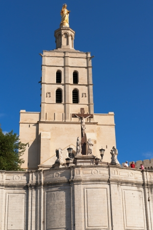 christus: outside cathedral and castle of avignon city in france Stock Photo