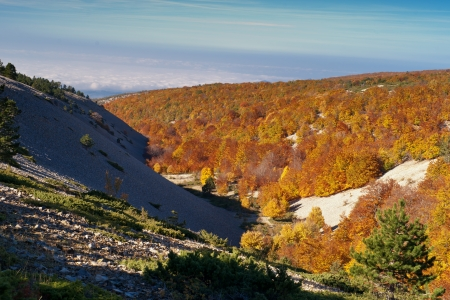 Uitzicht vanaf de Mont Ventoux, Vaucluse, Frankrijk Stockfoto