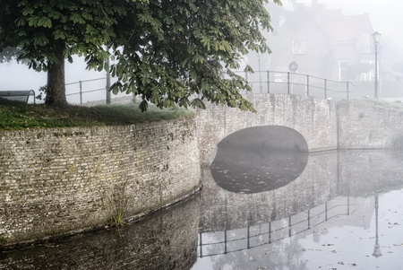 fortified: fortified bridge reflection in water