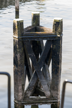 the mooring: Mooring posts in the port