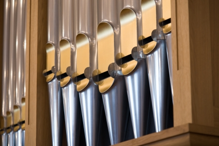 Details form A historic pipe organ in church Standard-Bild