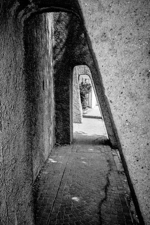 turda: stone passage in tunnel form, sirmione, italy Stock Photo