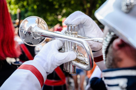 fanfare: Details From A Showband, Fanfare Our Drumband Stock Photo