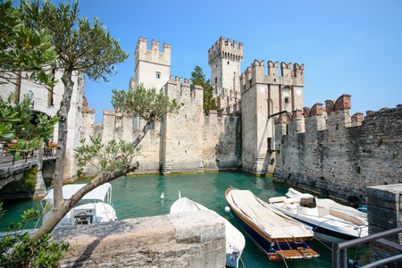 sirmione: Old Castle in the city Sirmione at the lago di Garda  Lombardy, Italy