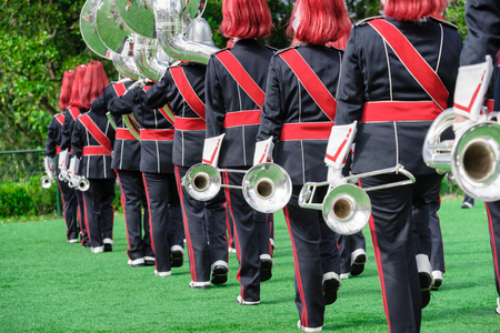 fanfare: Concert band or windband performing during event