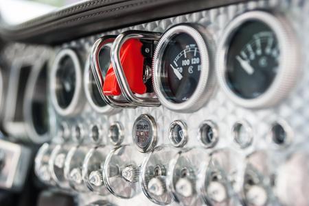 Detail van vintage bolides cockpit Stockfoto