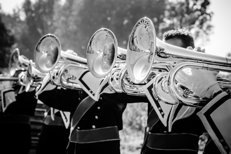 march band: Close up and details of playing musicians, instruments in a marching, show band or music band
