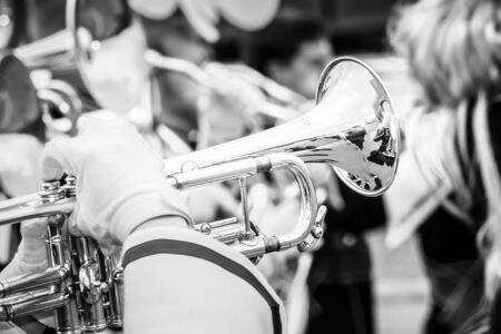 marching: Close up and details of playing musicians, instruments in a marching, show band or music band