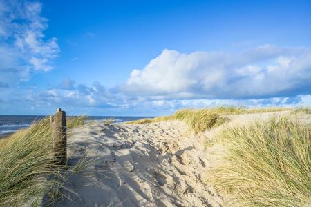 Bekijk op het strand van de duinen in Nederland