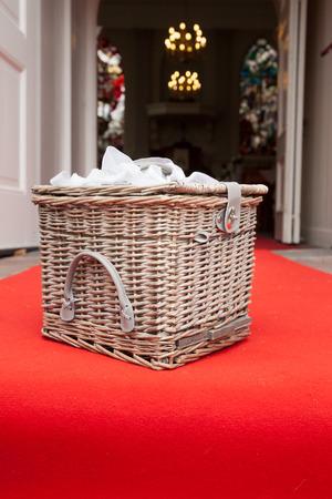 picknick: Vintage wicker wooden basket outdoor Stock Photo