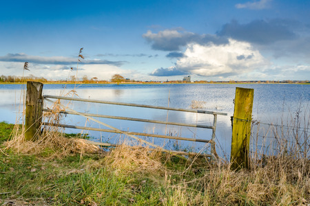 Rising water level in the floodplains of the river IJssel,  near Zwolle, Holland with cloudy sky