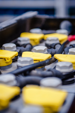 row of batteries for use in a forklift or other professional applications Stockfoto