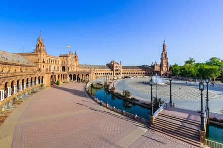 The Plaza de Espania is a Square located in the Park in Seville Built in 1928 for the Ibero-American Exposition of 1929. It is a landmark example of the Renaissance Revival style Stock Photo