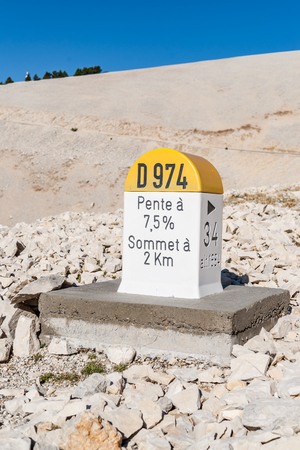 Typically recognizable Level stone on the Mont Ventoux as used in France.