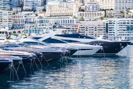 Luxery yachts in the Monte Carlo harbour, Monaco, France