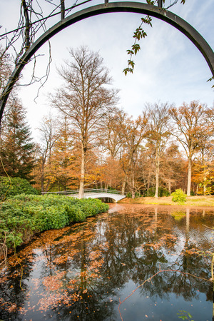 View on the bridge at Fall in park by rose garden, apeldoorn, Netherlands