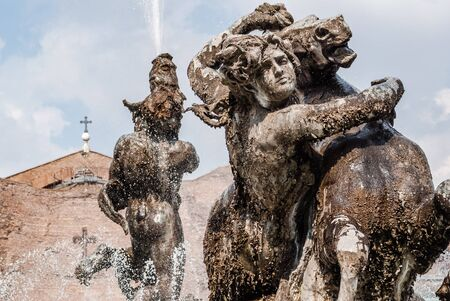 Fountain At Piazza Della Repubblica, Rome, Italy Stock Photo