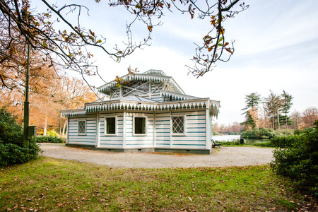 This photo was made in the palatial Park near Apeldoorn in the Netherlands. This is a architectural tea house-which was used by three generations of queens. Netherlands Stock Photo