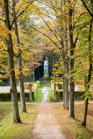 walking path: Walking Path And Fence in a park Along A Castle in the Netherlands at Autumn