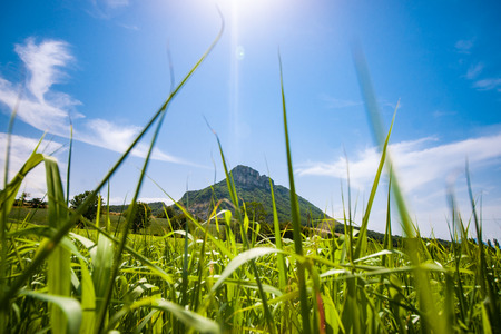 covered fields: The mass of the Vercors is perhaps one of the most pure places in France. The mountain plateau southwest of Grenoble is partially uninhabited and you can enjoy vast vistas. The climate has great extremes: in the summer, sunny, dry and warm, in winter the  Stock Photo