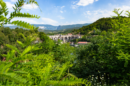 The wide mountain landscape of the vercors with its small mountain villages Stock Photo