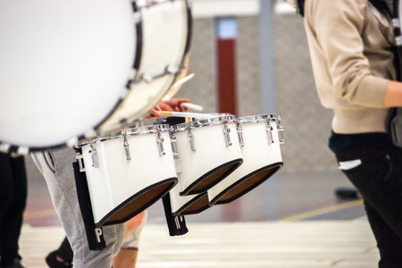 Percussion instrument with different quint  tuned drums that are used in drum corps and maching bands Stock Photo