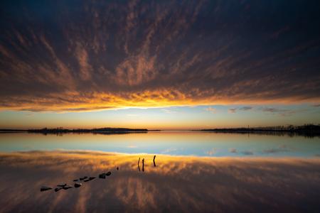 Dawn at river landscape in the Dutch IJssel Delta Imagens
