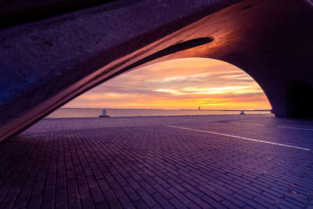 Beautiful sunset at the Markermeer. Bataviahaven,