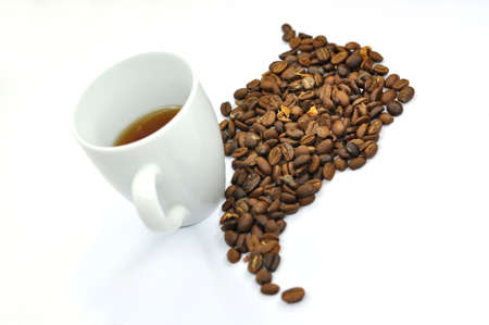 south america - with a cup of coffee beans
