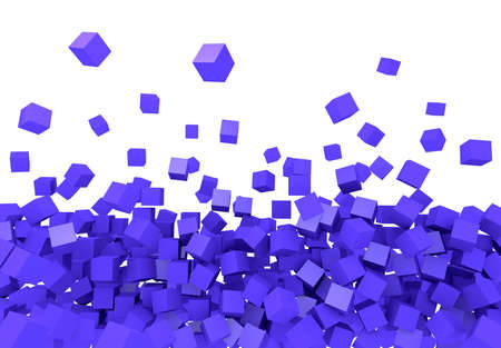 3D Würfel - fliegende blaue Würfel
