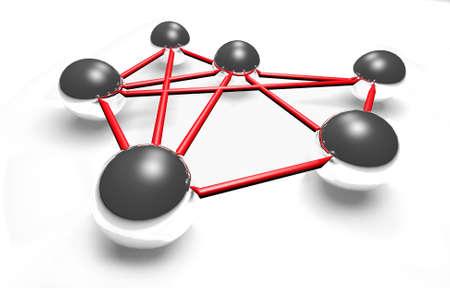 spiegelung: 3D Kugeln - Social network - vernetzt Stock Photo