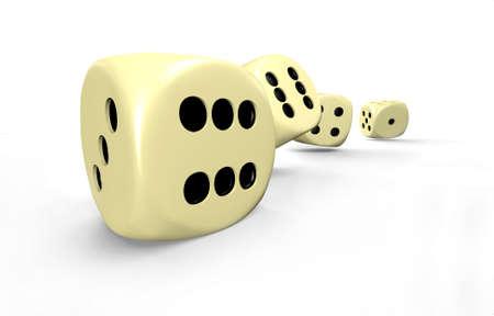 zahlen: Spielwürfel in Bewegung - 3D Stock Photo