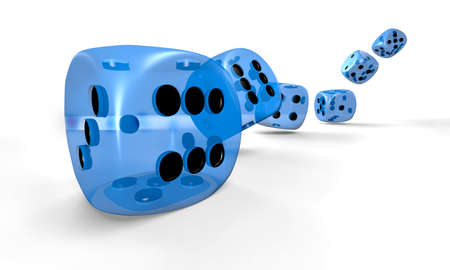 Spielwürfel in blau - transparent - fliegend Standard-Bild