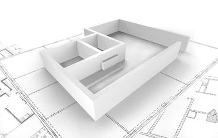 Grundriss - Darstellung en 3D Banque d'images