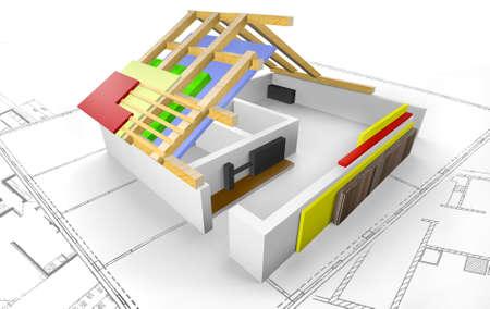 3d: Haus - Grundriss mit Dachkonstruktion - 3D
