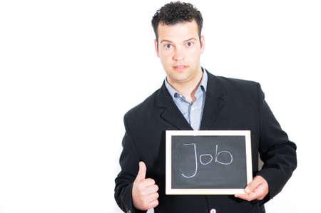 mann: Mann mit Tafel - Job Stock Photo