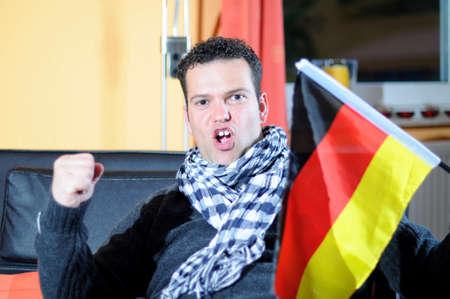 Fussballfan - Cinquantenaire, Freude, deutsche Fahne Banque d'images