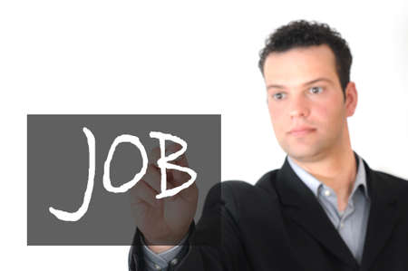 mann: Job - Mann schreibt mit Kreide auf Tafel Stock Photo
