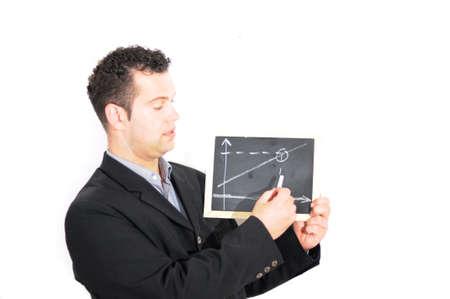 Mann erklärt eine Grafik - Business Standard-Bild