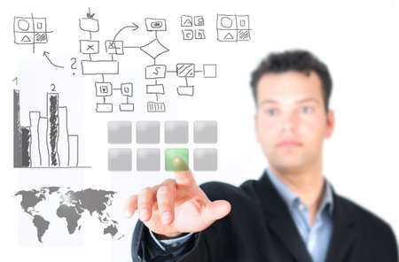Mann drückt Button - touch screen - Projekt
